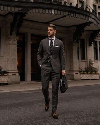 Brown Leather Derby Shoes Outfits: Try teaming a charcoal check suit with a white dress shirt for rugged elegance with a modern spin. Let your outfit coordination prowess really shine by finishing this look with a pair of brown leather derby shoes.