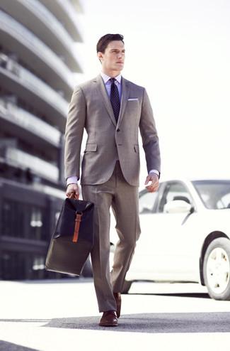 Men's Grey Suit, Violet Dress Shirt, Brown Leather Derby Shoes