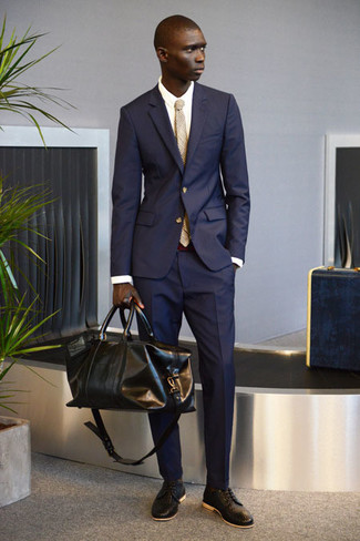 Men's Navy Suit, White Dress Shirt, Dark Brown Woven Leather Derby Shoes, Black Leather Duffle Bag