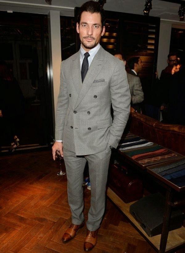David Gandy wearing Grey Wool Suit, White Dress Shirt, Brown ...