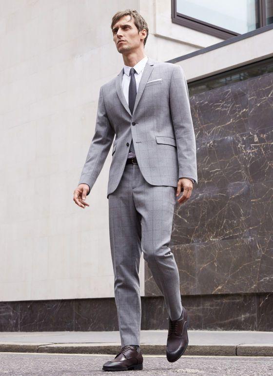 Men's Grey Check Suit, White Dress Shirt, Dark Brown Leather Derby ...