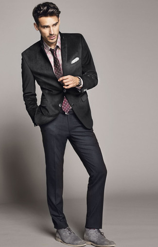 pink shirt and black suit