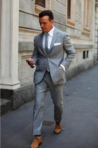 How to wear: grey wool suit, white dress shirt, brown suede desert boots, grey wool tie