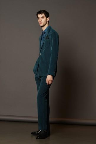 How to wear: dark green corduroy suit, blue denim dress shirt, black leather double monks, navy geometric tie