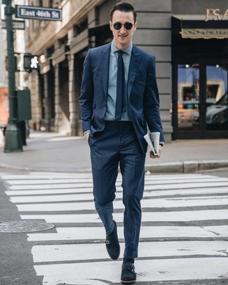 How to wear: navy vertical striped suit, light blue chambray dress shirt, navy suede double monks, navy tie
