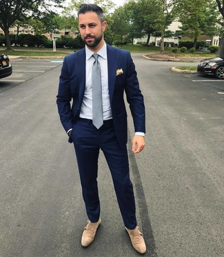 How to wear: navy suit, white vertical striped dress shirt, beige suede double monks, grey polka dot tie