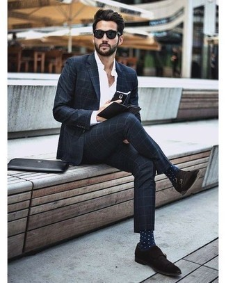 How to Wear Black and White Sunglasses For Men: This pairing of a black check suit and black and white sunglasses provides comfort and practicality and helps you keep it low-key yet modern. And if you need to instantly amp up this getup with shoes, why not choose a pair of dark brown suede double monks?