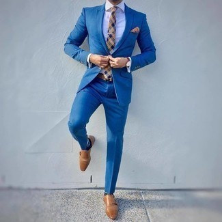 Tan Plaid Tie Outfits For Men: To look like a true dandy at all times, try pairing a blue suit with a tan plaid tie. To give this ensemble a more casual finish, why not complement this outfit with tan leather double monks?