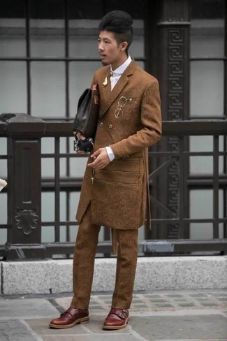 How to Wear a Tobacco Suit: Opt for a tobacco suit and a white dress shirt to look like a refined gentleman with a great deal of style. Burgundy leather double monks are guaranteed to bring a dash of stylish effortlessness to your look.