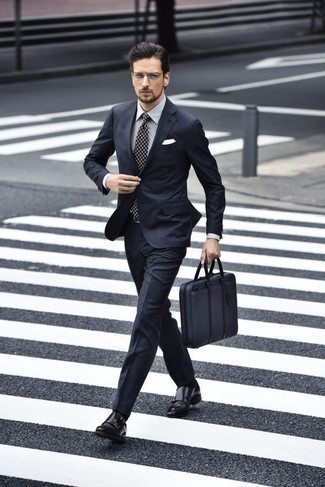 How to Wear a Navy Canvas Briefcase: If you're looking for a casual and at the same time sharp ensemble, try pairing a navy suit with a navy canvas briefcase. Follow a more classic route with shoes with a pair of black leather double monks.