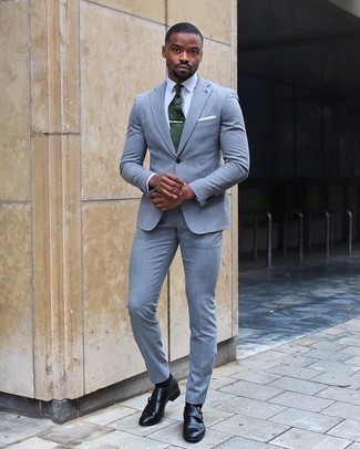 Men's Looks & Outfits: What To Wear In a Dressy Way: This combination of a light blue suit and a white dress shirt is a safe option when you need to look seriously smart. A pair of black leather double monks effortlessly amps up the appeal of your look.