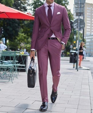 How to Wear a Violet Suit: Reach for a violet suit and a white dress shirt for an extra smart ensemble. To bring out the fun side of you, introduce a pair of black leather double monks to the mix.