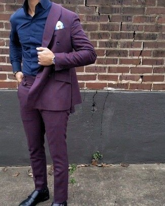 How to Wear a Violet Suit: This elegant combination of a violet suit and a navy dress shirt is truly a statement-maker. Black leather double monks will give an air of stylish casualness to an otherwise dressy ensemble.