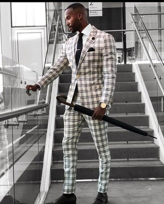 White and Black Check Suit Outfits: This elegant pairing of a white and black check suit and a white dress shirt is a must-try outfit for any guy. If you're on the fence about how to finish off, introduce black leather double monks to your ensemble.
