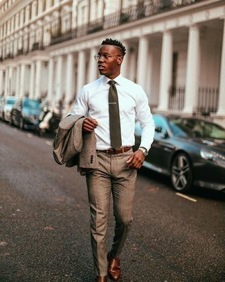 Brown Leather Double Monks Outfits: This combination of a brown suit and a white dress shirt exudes timeless elegance. Bump up the cool of this ensemble by wearing brown leather double monks.