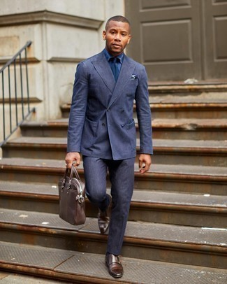 Suit Outfits: You're looking at the definitive proof that a suit and a navy dress shirt are amazing when worn together in a refined outfit for today's gentleman. If you need to effortlessly play down your getup with one item, why not round off with a pair of dark brown leather double monks?