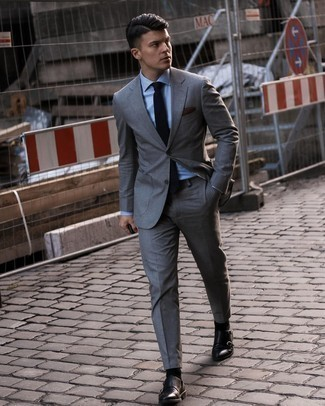 Dark Brown Pocket Square Outfits: This casual combination of a charcoal suit and a dark brown pocket square is a real lifesaver when you need to look casually stylish but have zero time to assemble an ensemble. Kick up this whole outfit by rounding off with black leather double monks.