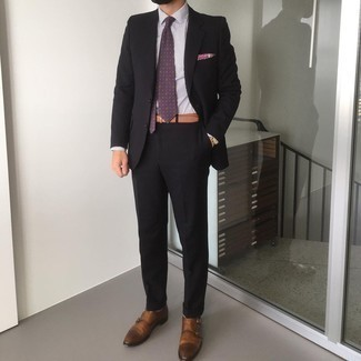Suit Outfits: Putting together a suit with a white and black vertical striped dress shirt is a savvy choice for a dapper and elegant outfit. A pair of brown leather double monks is a never-failing footwear option here that's also full of character.