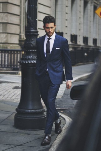 Navy Check Suit | Men's Fashion