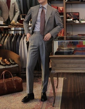 How to Wear Black Leather Dress Boots For Men: Consider wearing a white and black vertical striped dress shirt to look like a true style expert. Balance your look with a more polished kind of shoes, such as these black leather dress boots.