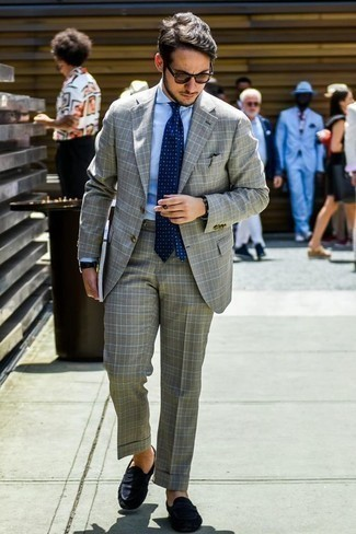 How to Wear a Navy Polka Dot Tie For Men: This combo of a grey plaid suit and a navy polka dot tie is seriously smart and creates instant appeal. Finishing off with a pair of navy suede driving shoes is a surefire way to bring an element of stylish nonchalance to this ensemble.