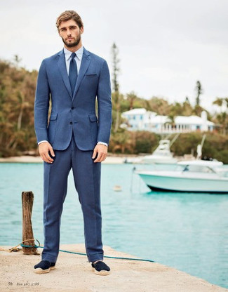 How to wear: blue suit, white dress shirt, navy suede espadrilles, blue tie