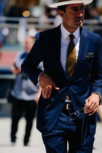 How to wear: navy vertical striped suit, white dress shirt, white straw hat, dark green print tie
