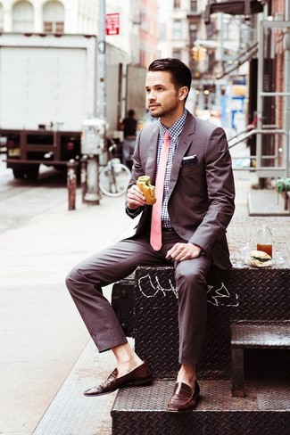 How to wear: brown suit, navy and white gingham dress shirt, brown leather loafers, pink tie