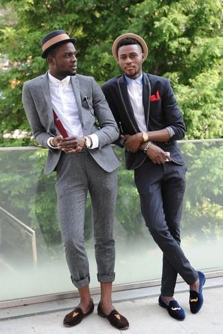 Men's Grey Wool Suit, White Dress Shirt, Dark Brown Suede Loafers, Navy Hat