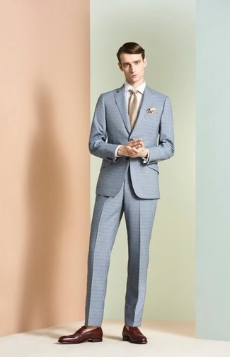 How to wear: light blue check suit, white dress shirt, burgundy leather loafers, beige tie