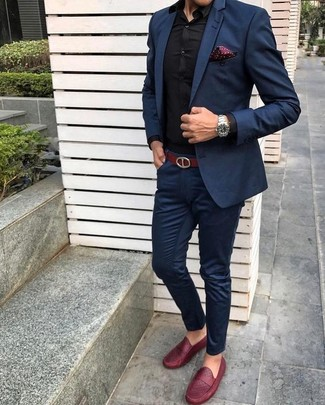 How to wear: navy suit, black dress shirt, red leather loafers, burgundy polka dot pocket square