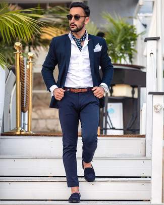 How to wear: navy suit, white dress shirt, navy suede loafers, white pocket square