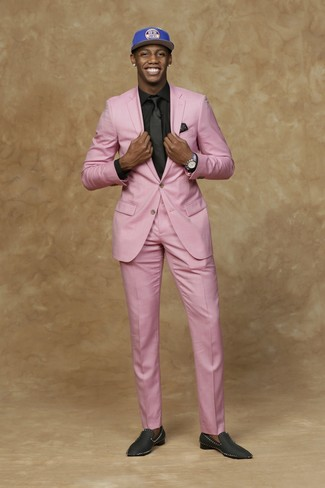 How to wear: pink suit, black dress shirt, black satin loafers, blue print baseball cap