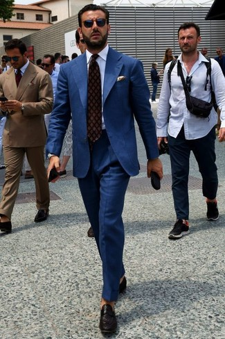 How to wear: navy suit, white dress shirt, black woven leather loafers, burgundy print tie