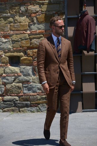 How to wear: brown suit, white dress shirt, dark brown suede loafers, navy horizontal striped tie