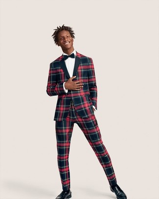 How to wear: navy and red plaid suit, white dress shirt, black leather loafers, navy bow-tie
