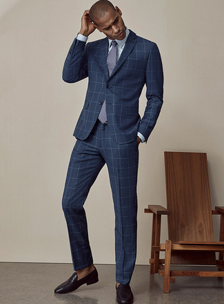 How to Wear a Light Blue Dress Shirt For Men: This elegant combination of a light blue dress shirt and a navy check suit is a must-try getup for any modern gent. Black leather loafers are a welcome complement to this look.