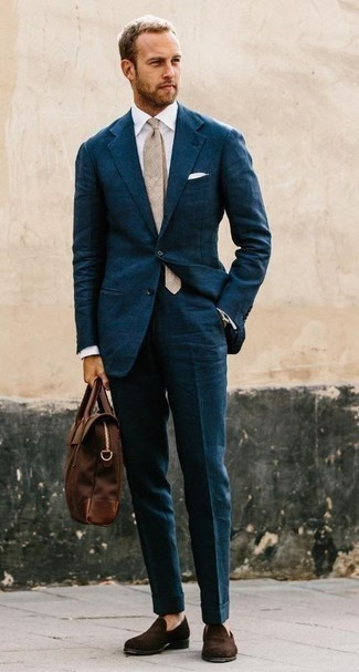 How to Wear a Teal Suit: Go for a sharp getup in a teal suit and a white dress shirt. For something more on the daring side to complement this look, introduce dark brown velvet loafers to the equation.