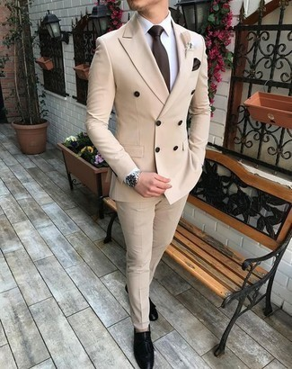 How to Wear a Dark Brown Pocket Square: For an off-duty outfit, pair a beige suit with a dark brown pocket square — these items work pretty good together. Why not take a classic approach with shoes and introduce a pair of black fringe leather loafers to the equation?