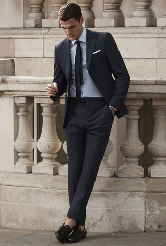 Black Loafers with Black Suit Outfits