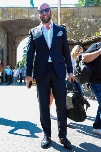 How to Wear Navy Sunglasses For Men: If you prefer relaxed style, why not take this combo of a navy suit and navy sunglasses for a spin? Black leather loafers are a guaranteed way to give a hint of elegance to your ensemble.
