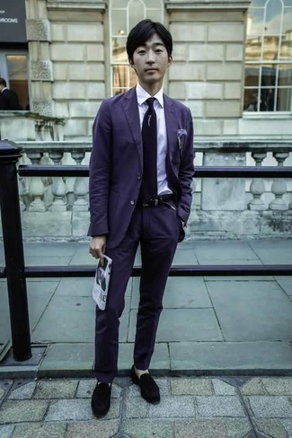 How to Wear a Violet Suit: A violet suit looks so elegant when worn with a white dress shirt in a modern man's getup. And if you wish to effortlessly dress down your ensemble with a pair of shoes, why not introduce a pair of black velvet loafers to this outfit?