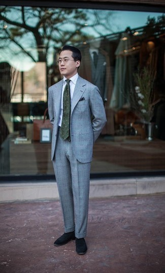 White Dress Shirt Outfits For Men: Go for something polished and timeless in a white dress shirt and a light blue suit. And if you need to instantly tone down your getup with one single piece, introduce black suede loafers to this look.