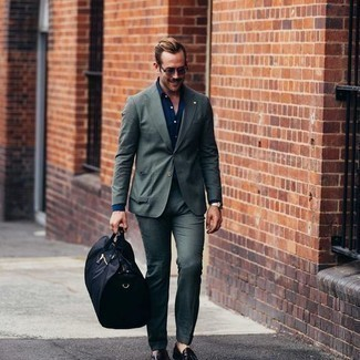 Loafers with Shirt Outfits For Men In Their 30s: This is definitive proof that a shirt and a dark green suit are awesome when teamed together in a sophisticated ensemble for a modern gentleman. Loafers will take your getup in a more elegant direction. Wear this to put together a more mature look as a young gent.