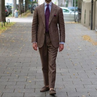 Brown Suit with Dress Shirt Outfits: Marry a brown suit with a dress shirt and you will definitely make an entrance. Our favorite of a variety of ways to complement this outfit is a pair of brown suede loafers.