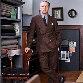 Brown Suit with Dress Shirt Outfits: Go for sophisticated gentleman's style in a brown suit and a dress shirt. You could perhaps get a little creative with shoes and dress down your ensemble with dark brown leather loafers.