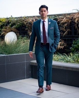 1200+ Dressy Outfits For Men: Go all out in a teal suit and a white dress shirt. A nice pair of brown leather loafers is an easy way to power up this look.