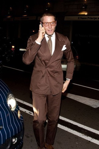 Clear Sunglasses Outfits For Men: Team a brown suit with clear sunglasses for standout menswear style. Take a classic approach with shoes and complete your outfit with brown suede loafers.