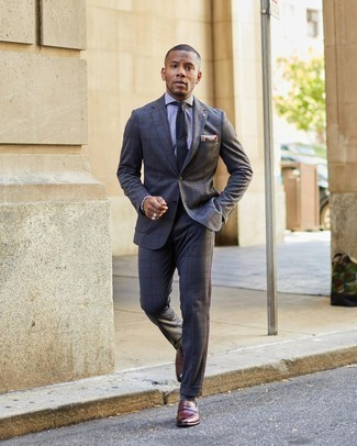 Dress Shirt Outfits For Men: This is indisputable proof that a dress shirt and a charcoal plaid suit are amazing when paired together in a refined outfit for today's guy. Burgundy leather loafers finish this look quite well.