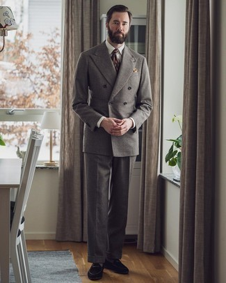 White Dress Shirt Outfits For Men: Dress for success in a white dress shirt and a grey wool suit. Go the extra mile and switch up your ensemble by finishing off with a pair of black suede loafers.